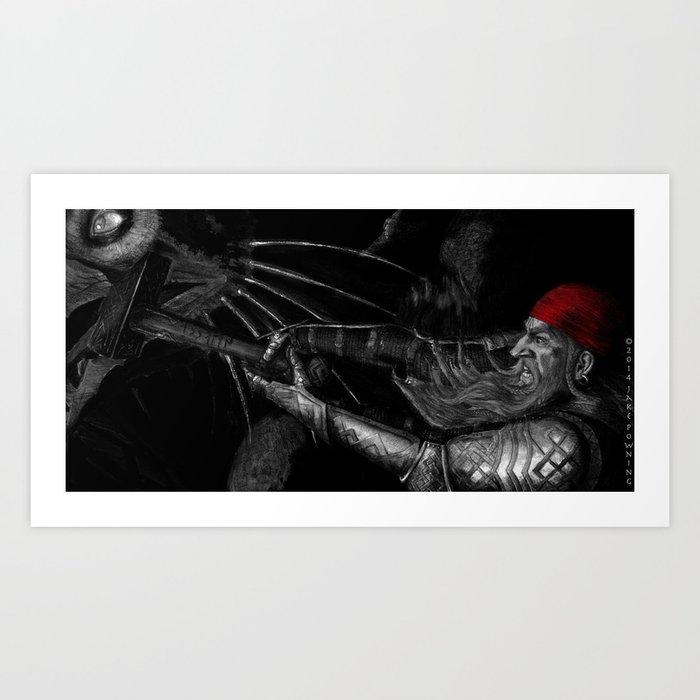 Dwarf vs. Hook Horror  Art Print