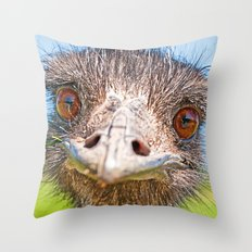 Funny emu Throw Pillow