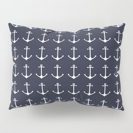 Nautical navy blue white modern anchor pattern Pillow Sham