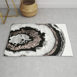 Gray Black White Agate with Rose Gold Glitter #1b #gem #decor #art #society6 Rug