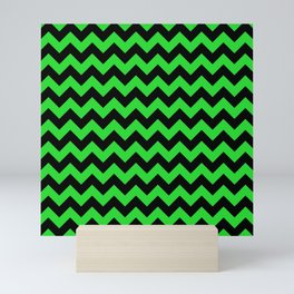 Large Black and Bright Monster Green Halloween Chevron Stripes Mini Art Print