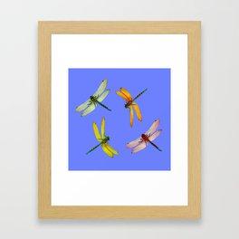 COLORFUL DRAGONFLIES IN BLUE SKY  DESIGN Framed Art Print