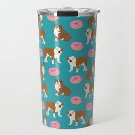 English Bulldog sprinkle pink donuts cute colorful children pets fur baby pet portrait bulldog gifts Travel Mug