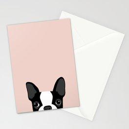 Boston Terrier Peek - Black on Pale Pink Stationery Cards