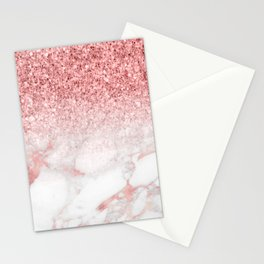 Rose-gold faux glitter and marble ombre Stationery Cards
