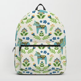 Swedish Dala Horses Teal Backpack