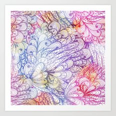 Gradient Floral Pattern 06 Art Print