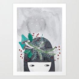 Winter girl botanical watercolor illustration Art Print