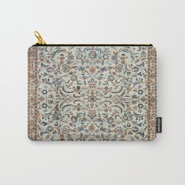 Central Persia Old Century Authentic Colorful Muted Dusty Cream Grey Vintage Rug Pattern Carry-All Pouch