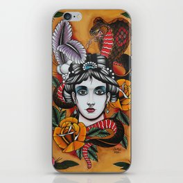Woman with snake iPhone Skin