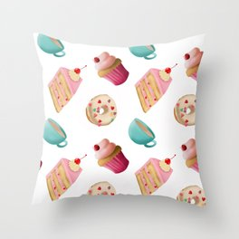 Afternoon tea party seamless pattern digital illustration  Throw Pillow
