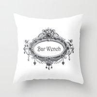 bar Throw Pillows featuring Bar Wench by Andrea Jean Clausen - andreajeanco
