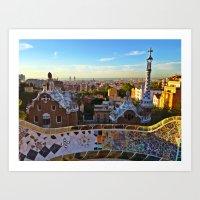 Park Guell, Barcelona, Spain in Sunrise Art Print