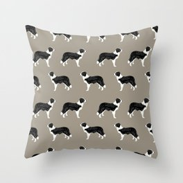 Border Collie dog pattern pet friendly dog art dog lover gifts with favorite dog breeds Throw Pillow