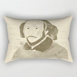 Portrait of William Shakespeare-Hand drawn-Vintage Rectangular Pillow