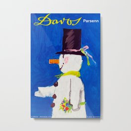 Davos Switzerland Snowman - Vintage Travel Metal Print