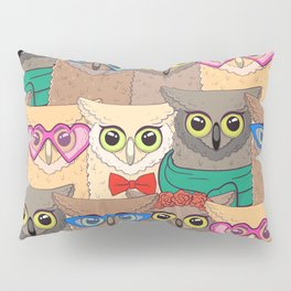 Pattern with cute owls with trendy accessories - glasses, bow-tie, flowers, scarf Pillow Sham