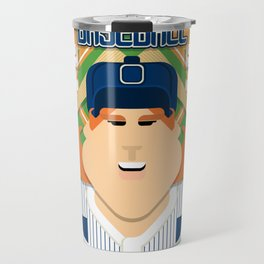 Baseball Blue Pinstripes - Deuce Crackerjack - Jacqui version Travel Mug