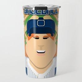 Baseball Blue Pinstripes - Deuce Crackerjack - Jacqui version Travel Mug