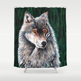 Grey Canadian Wolf Shower Curtain