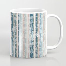 Distressed Vintage Wallpaper Flowers and Stripes in Muted Jewel Tones Pink Teal Green Coffee Mug