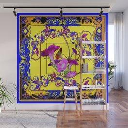 Decorative Blue Yellow Pink Purple Vining Flowers Art Wall Mural