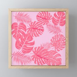 Tropical flamingo pink leaves Framed Mini Art Print