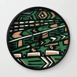 Tribal lino print  Wall Clock