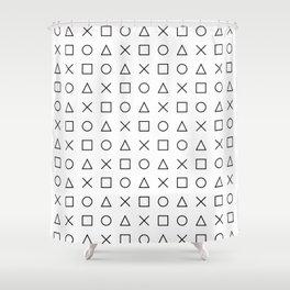 gaming design white - gamer pattern black and white Shower Curtain