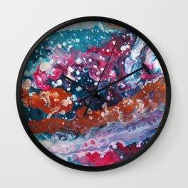 PURPLE NEBULA   Fluid abstract art by Natalie Burnett Art Wall Clock