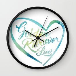 Golden Retriever Luv with Heart in watercolor Wall Clock