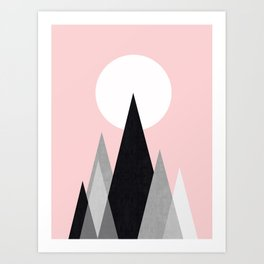 Mountains in pink sky Art Print