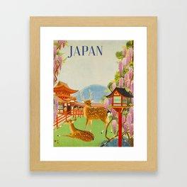 Vintage Mid Century Modern Japan Travel Poster Deer Red Pagoda Wisteria Garden Framed Art Print