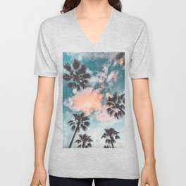 Palms and Pink Clouds Unisex V-Neck