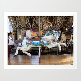 Vintage Carousel Horse galloping Art Print
