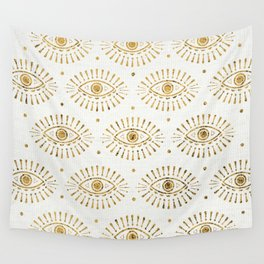 Evil Eyes Gold Wall Tapestry