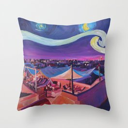 Starry Night in Marrakech   Van Gogh Inspirations on Fna Market Place in Morocco Throw Pillow