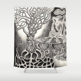 BioTechnological DNA Tree and Abstract Cityscape Shower Curtain