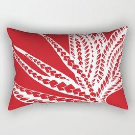 Red Polynesian Geometric Floral Chic Tribal Tattoo Rectangular Pillow