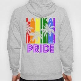 Lanikai Beach Pride Gay Pride LGBTQ Rainbow Palm Trees Hoody