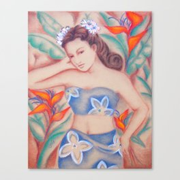 1940's Vintage Hawaiian Beauty Canvas Print