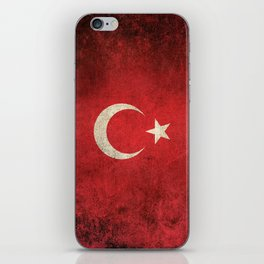 Old and Worn Distressed Vintage Flag of Turkey iPhone Skin