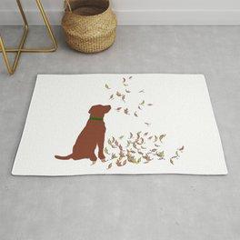 Brown Dog in Fall Leaves Rug