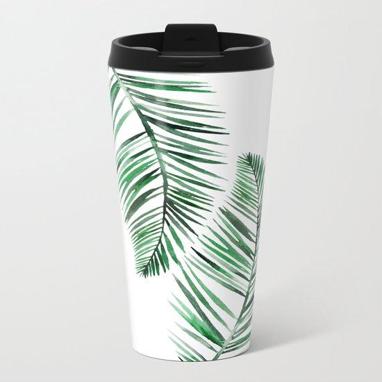 Tropical Exotic Palm Leaves on #Society6 Metal Travel Mug