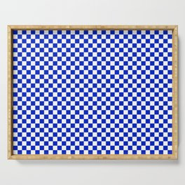 Small Cobalt Blue and White Checkerboard Pattern Serving Tray