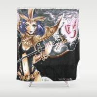 league of legends Shower Curtains featuring LeBlanc League of Legends Set by Mistiqarts