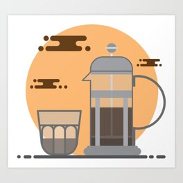 French Press Coffee Art Print