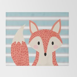 Cute fox illustration with stripes blue white and orange Throw Blanket