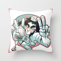 yaoi Throw Pillows featuring Plushie! by kami dog