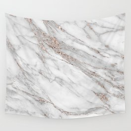 Pink Rose Gold Blush Metallic Glitter Foil on Gray Marble Wall Tapestry